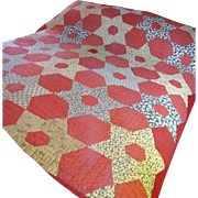 SALE Hand Stitched Antique Calico Quilt, Warm Rich Colors!