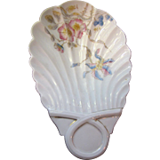 Large and Lovely Victorian Hand Painted Shell Form Nut or Candy Dish