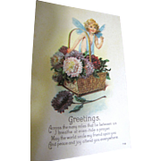 "SALE ""Greetings Across the Many Miles ..."" USA Early 20thC with Sweet Garden Fairyâ€"