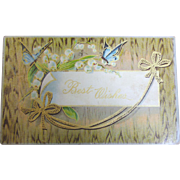 """SALE 1900's """"Best Wishes"""" Postcard Snowdrops with Butterfly, Floral Design """