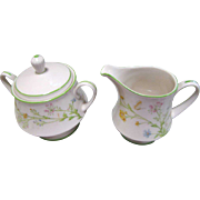 Noritake Creamer & Sugar Bowl in the Reverie Pattern