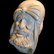 SALE Vintage Meerschaum Pipe Bearded Sultan Large Hand Carved Head
