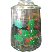 Lovely Vintage Holly & Berries Glass Cookie Jar by Indiana Glass