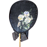 """SALE Lovely Victorian Hand Painted Silk """"Forget Me Not"""" Mourning Fan"""