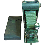 SALE Antique Pocket Kodak Camera No. 1A with Carrying Case - Sparkling Green - Very Nice!‏