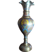 "Huge 20"" Champleve Brass Vase, Great Decorator Item"