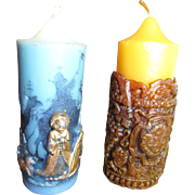 SALE Fun Pair of Vintage Figural Christmas Candles