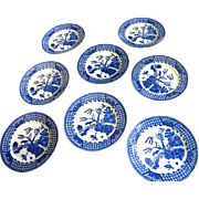 """Great Set of Eight 6"""" Plates, Japan Blue Willow"""