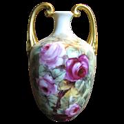 SALE Stunning Vienna Austria Hand Painted Antique Vase, Roses, Gilding