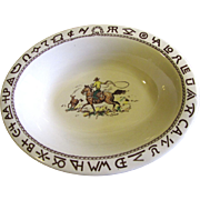 """Westward Ho Rodeo Pattern by Wallace 12"""" Oval Serving Bowl, Rare"""