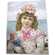 SALE Adorable Girl With Doll Postcard, Perfect to Frame for Doll Room
