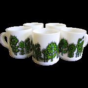 Set of FIVE Vintage Retro Milk Glass Coffee Mugs
