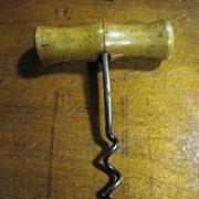 SOLD 1900s Original Antique Fine Hand Forged Iron Wooden Cork Screw