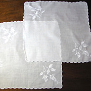SALE Beautiful Pair of Embroided Linen White Hankies, Perfect for Weddings
