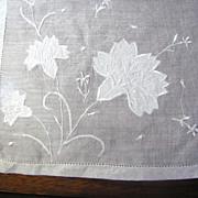 SALE Lovely Vintage Linen Appliqued Batiste Carnation Hankie
