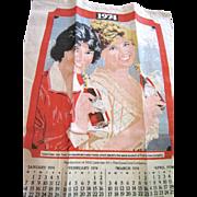 Original 1974 Coca Cola Advertising Linen Tea Towel