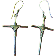 SALE Stylish Pair of Sterling Silver Wire Wrapped Cross Earrings