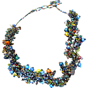 SALE Thick Bunchy Mirco Bead Woven Necklace, Great Designer Look
