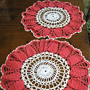"Great Looking Matched Pair of Vintage Crochet 13"" Doilies"