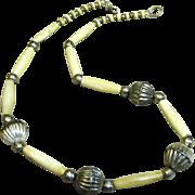 SALE Lovely Vintage Carved Bone Tribal Necklace