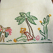 Fun Vintage Embroidered Mexican Theme Hand or Kitchen Linen Towel