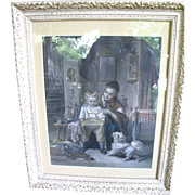 SALE Early Victorian Hand Colored Etching by Joseph Franck, Dog, Child!
