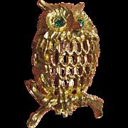 SALE Vintage Retro Napier Owl Pin with Rhinestone Eyes