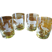 Lovely Set of 4 Horchow Animal Engraved Old Fashion Tumblers