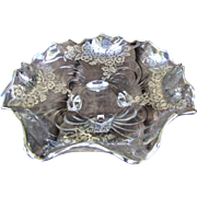Large, Lovely Ornate Footed Sterling Silver Overlay Bowl