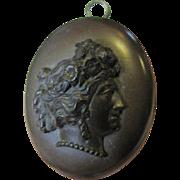 SALE Loveliest Victorian Carved Vulcanite Cameo Locket