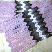 Loveliest Hand Knitted Chevron Pure Shetland Wool Lace Scarf