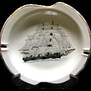 Large and Lovely Mid Century Sailing Ship Porcelain Ashtray No 2