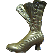 Cast Brass Vesta Case in the form of a Victorian Button Boot