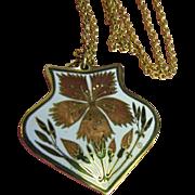 SALE Lovely Vintage Cloisonne Pendant Necklace by Cloisonart