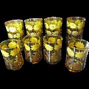 4 Juice & 4 Tea Tumblers, Cool 1970's Retro Floral Design