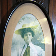 SOLD Victorian Lady Sporting Framed Print, Lady with Fishing Rod