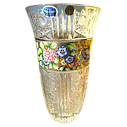"SALE Massive 12"" Bohemian 24% Lead Cut Crystal Vase with Gilt Enameled Decoration"
