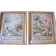 SALE Beautiful Pair of Pastoral Biblical Theme Victorian Samplers