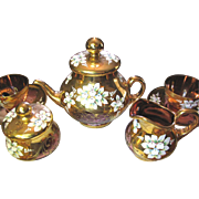 SALE Vintage Pink Gilt & Enamelled Bohemian Glass 17 Piece Tea Set