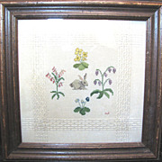 SALE Vintage Sampler, Rabbit and Flowers on Woven Wool
