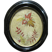 SALE Victorian Watercolor Painting of Flowers & Leaves,Oval Black Frame