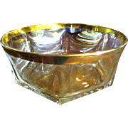 Beatuiful Large Crystal Bowl, Deep Gold Encrusted Rim