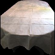 """88"""" Lightweight Pure Linen Damask Tablecloth"""