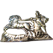 SALE Sophisticated Shiebler Style Oxidized Sterling Roman Charioteer Figural Pin, 12 Grams