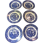 Six Cauldon & F&P English Gilt Blue Willow Plates, Lovely Quality