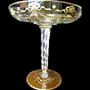 SALE Huge Victorian Blown Glass Hand Gilt Comport, Zipper Cut Twisted Stem!