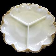Vintage Milk Glass Three Part Divided Relish Dish Gold Trim