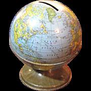 Vintage Globe Tin Money Bank