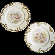 SALE 1893 Pair of Jean Pouyat Limoges Cherub Cabinet Plates