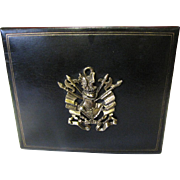 Super Pair of Bookends, Gilt Leather, Heraldic Motif!